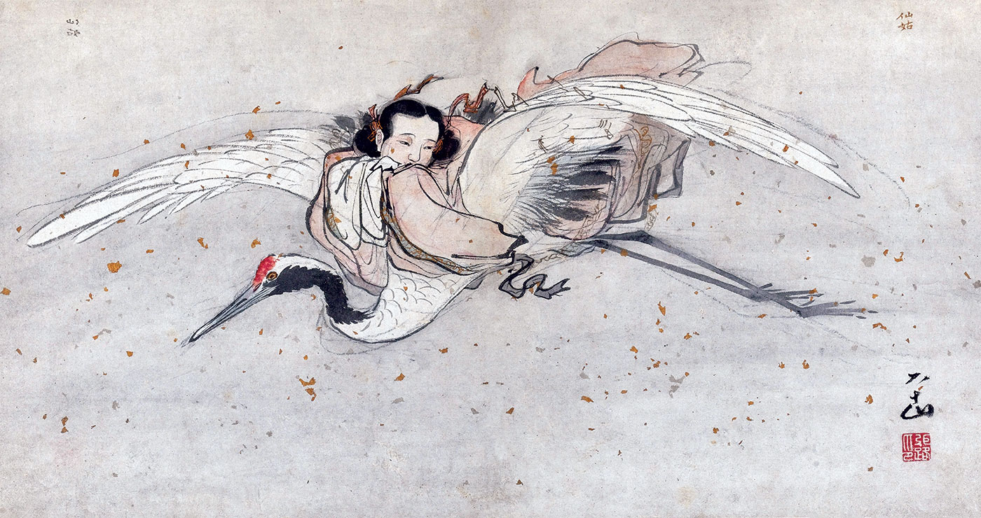 He Xian Gu on a celestial crane, from the album of 18 Taoist paintings by Zhang Lu (1464-1538), displayed in the Shanghai Museum.
