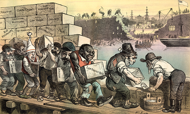 'The American wall goes up as the Chinese original goes down', published in Puck, 1882. China opens up to trade, while America uses ethnic workers to curb immigration. Library of Congress
