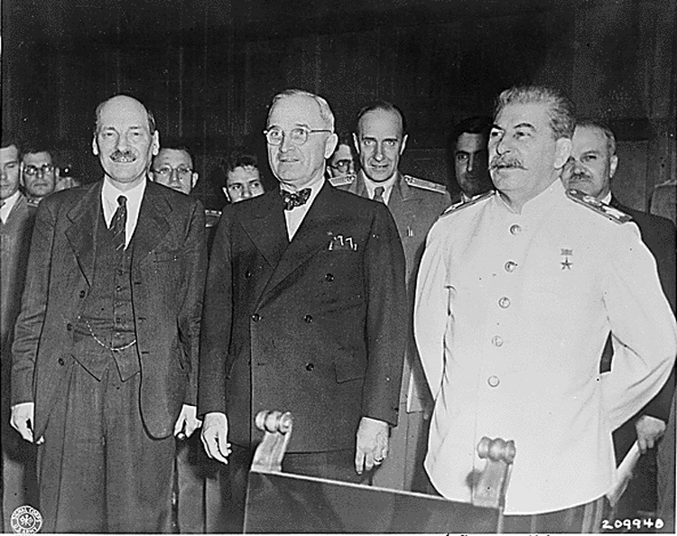 L-R: Clement Attlee, President Harry S. Truman and Joseph Stalin at the 1945 Potsdam Conference