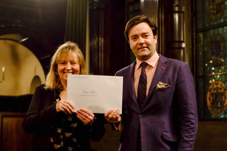Sarah Helm, winner of the Book Prize, with Paul Lay