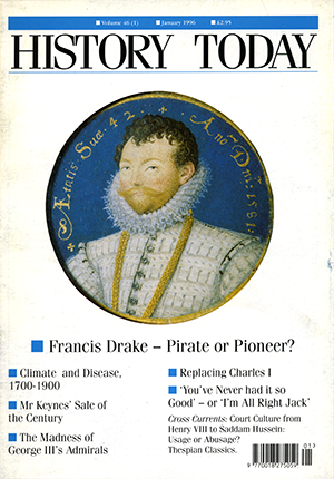 Francis Drake on the front cover of the January 1996 issue.