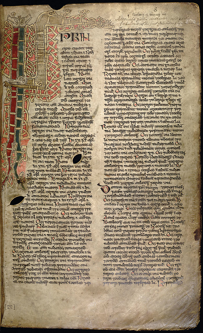 Folio from 'The Book of Ballymote', a manuscript written mostly in Irish, c.1391. Click to view large.