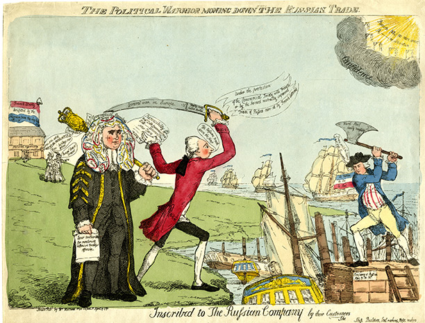 'The Political Warrior Mowing Down the Russian Trade', a satire on Pitt's foreign policy from 1791. British Museum