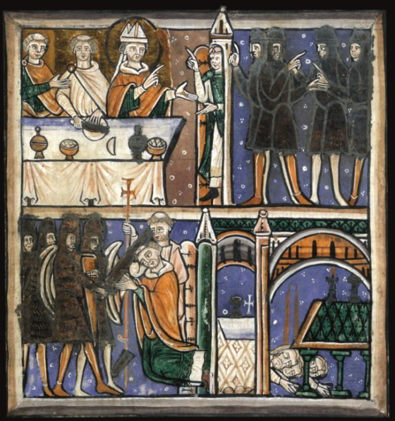 The oldest and most authentic image of Thomas Becket's murder, prefacing a copy of John of Salisbury's letter of early 1171 describing it. The four knights arrive at Canterbury (upper panel) and Reginald fitz Urse strikes the first blow (lower panel). AKG