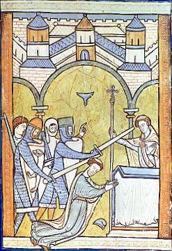 13th-century manuscript illumination, an early depiction of Becket's assassination