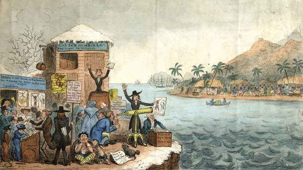 'John Bull Taking a Clear View of the Negro Slavery Question!!' by Isaac Robert Cruikshank (1726). This cartoon satirises Abolitionists, who are shown as fanatical Quakers, and the East Indian sugar interest, which marketed its product as an alternative to that produced by exploited slaves from the West Indies.