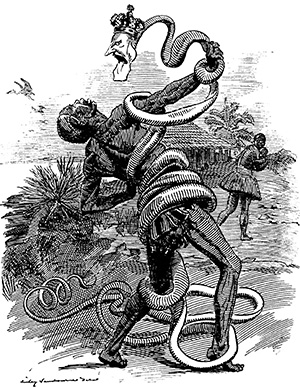 'In the Rubber Coils', a Punch cartoon of 1906, shows King Leopold's stranglehold on the Congo