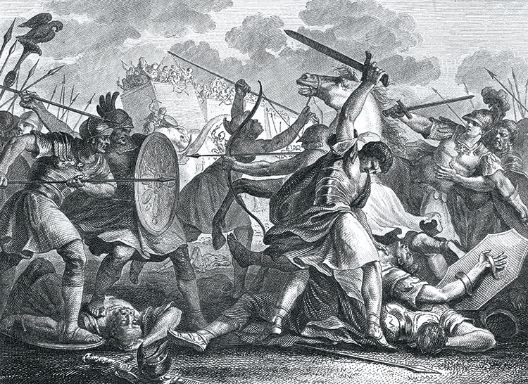 Pyrrhus faces defeat at the Battle of Benevento, 19th-century engraving. Mary Evans Picture Library