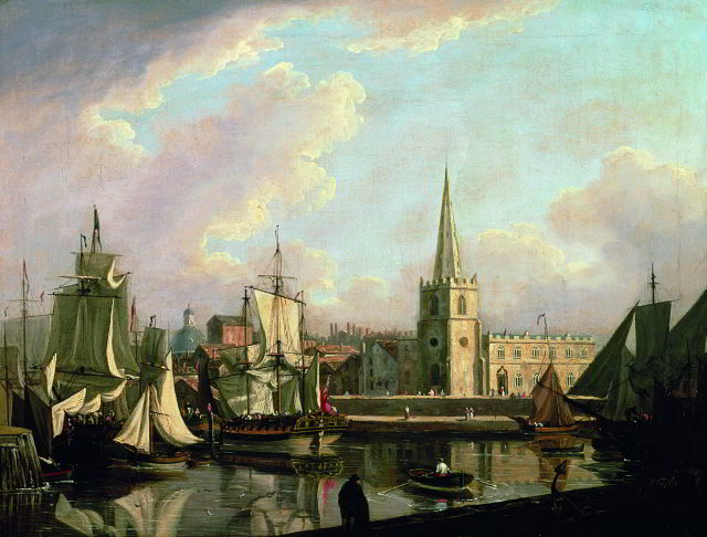'George's Dock Basin, Liverpool, 1797', a painting by John Thomas Serres (1759-1825)