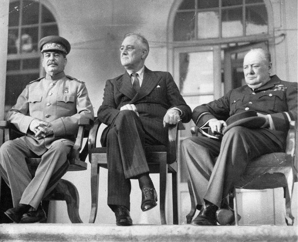 Joseph Stalin, Franklin D. Roosevelt and Winston Churchill at the Tehran conference, 1943