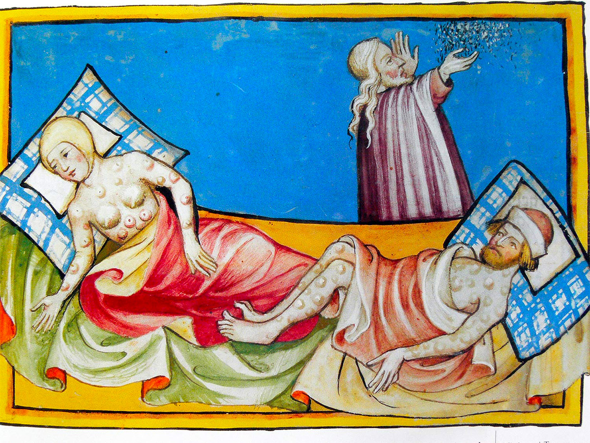 Miniature of smallpox from the Toggenburg Bible