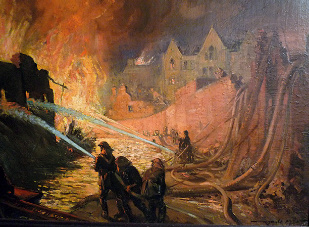 'In the East End, November 1940' by Reginald Mills. London Fire Brigade Museum
