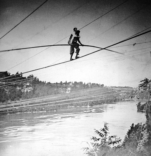 e94c0dec93 Blondin s first tightrope-walk across Niagara Falls