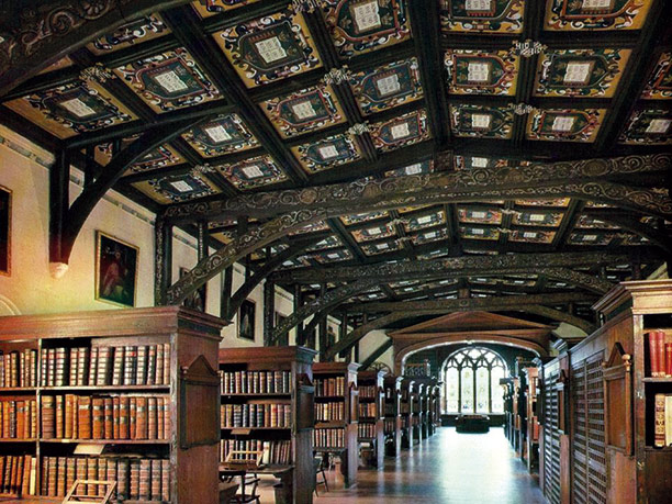 House of learning: inside the oldest section of the Bodleian Library, built in 1487. Bodleian Library, Oxford