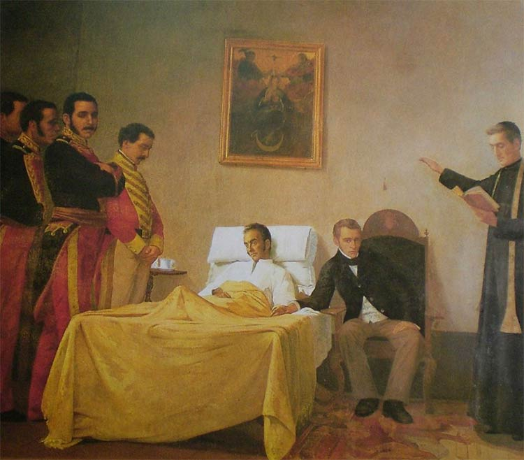 Bolívar's death by Venezuelan painter Antonio Herrera Toro