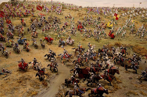 The clash between Richard's and Henry's armies as depicted by Bosworth Battlefield Heritage Centre. By John Taylor