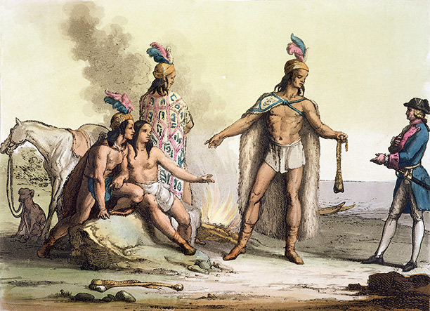 In Patagonia: Indians greet a European traveller, from Le Costume Ancien et Moderne, c.1820-30.