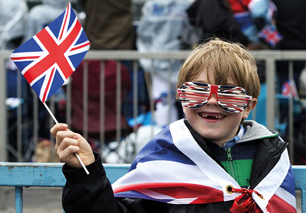 Union flag-waving at the Diamond Jubilee River Pageant, June 2012. Getty Images/AFP/Miguel Medina