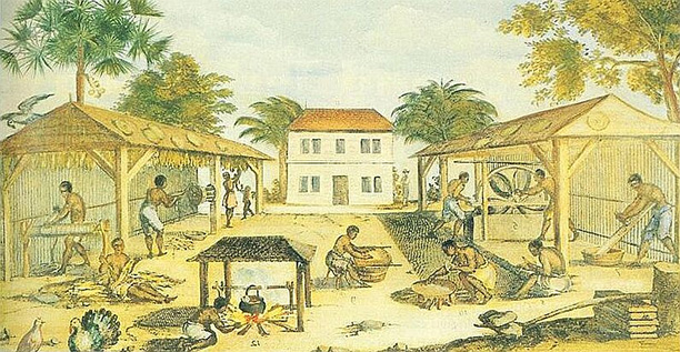 African slaves working in 17th-century Virginia, by