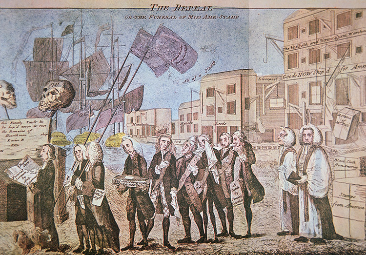 Taxing issue: The Repeal, or the Funeral of MIss Ame-Stamp, 1766