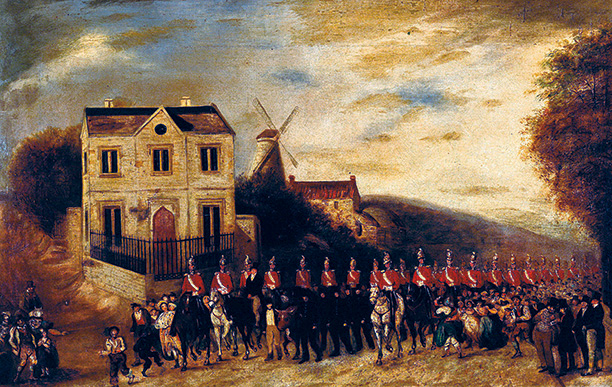 The bull escorted by dragoon guards from Tolethorpe to Stamford in 1839.