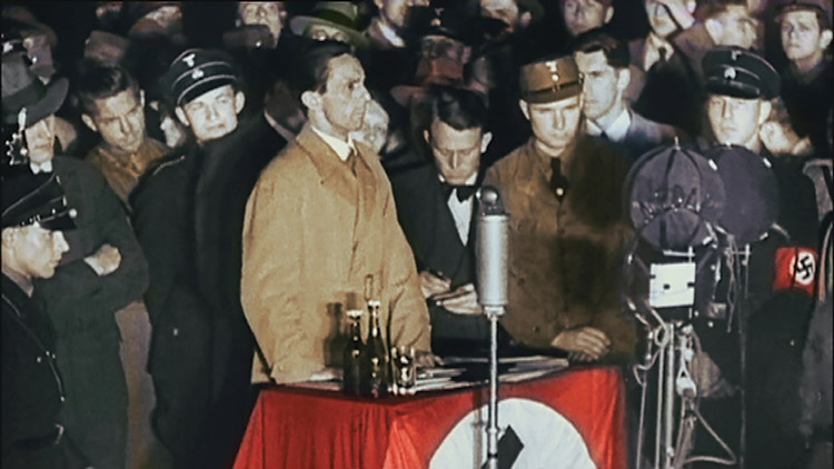 Joseph Goebbels gives his speech at the Opernplatz book burning, Frankfurt, May 10th, 1933