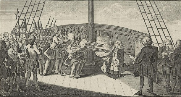 'The Shooting of Admiral Byng on board the Monarque'; artist unknown