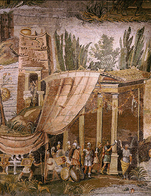 A Roman garrison on the Nile, detail from a mosaic pavement, c.80 BC