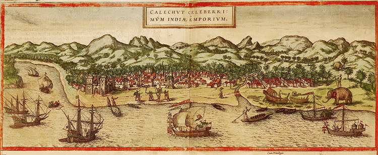 A depiction of Calicut, India published in 1572 dur-–-ing Portugal's control of the pepper trade