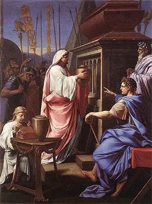 Caligula Depositing the Ashes of his Mother and Brother in the Tomb of his Ancestors, by Eustache Le Sueur, 1647.