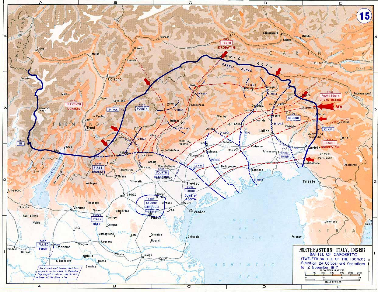 Map showing the northern extent of the Italian frontline before and after the Battle of Caporetto.