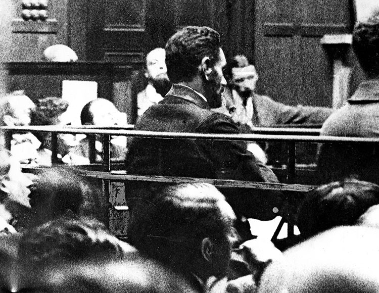 Casement in the dock at the Old Bailey during his trial