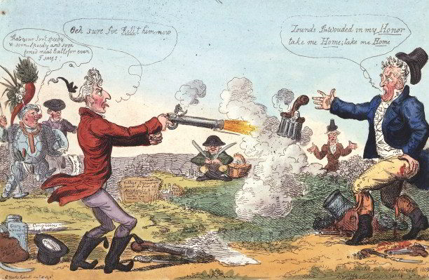 'Killing no murder, or a new ministerial way of settling the affairs of a nation!', a satire by Isaac Cruickshank of the duel between Castlereagh (l) and Canning that took place on September 21st, 1809