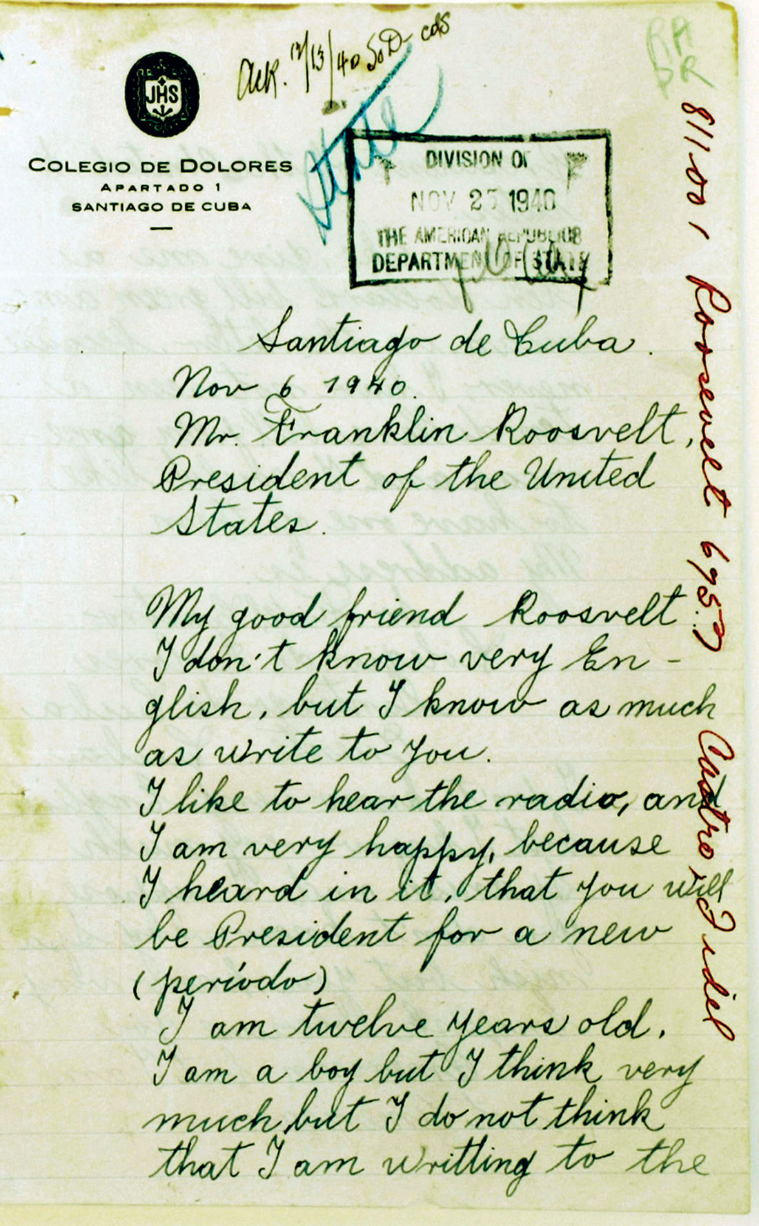 The first page of Castro's letter, 6 November 1940.