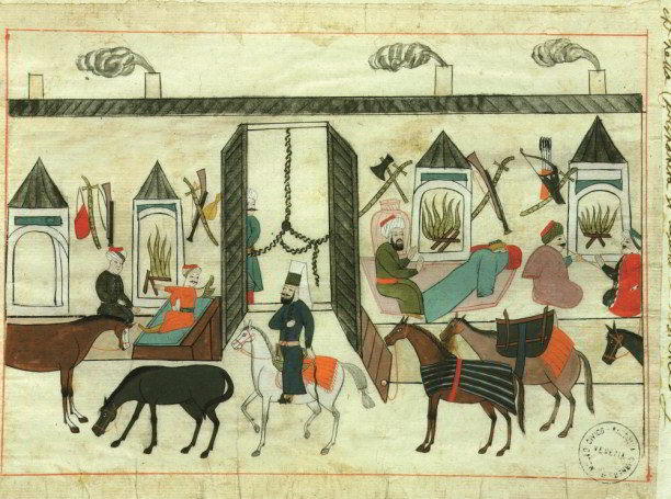 The interior of a Turkish caravanserai, or travellers' inn, coloured drawing in a 17th-century Ottoman manuscript. Art Archive/Dagli Orti/Museo Correr Venice