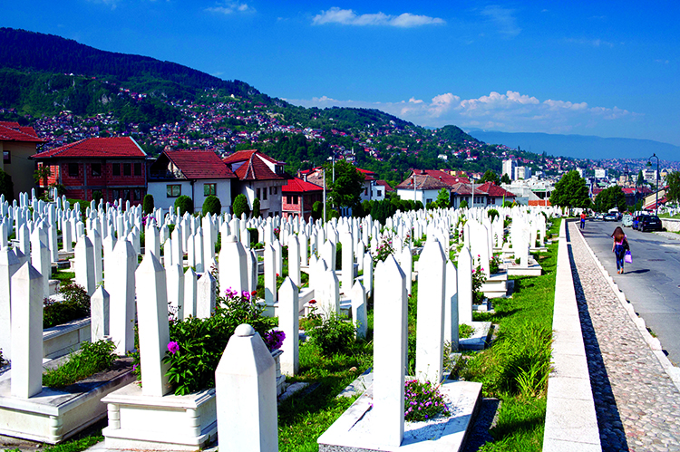 A Muslim cemetery near the National Library in Sarajevo, 2015.