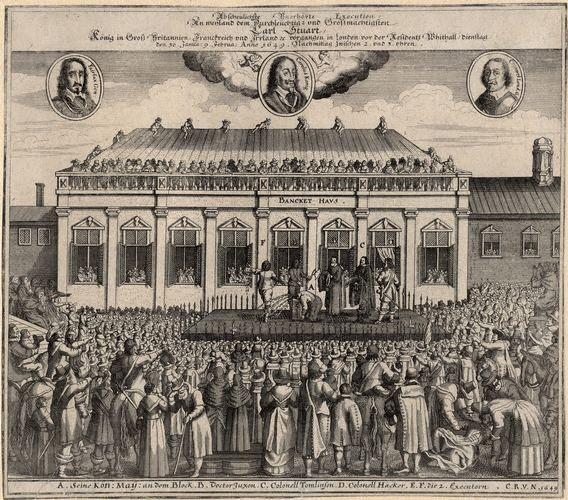 A contemporaneous print showing the 1649 execution of Charles I outside the Banqueting House, Whitehall, London
