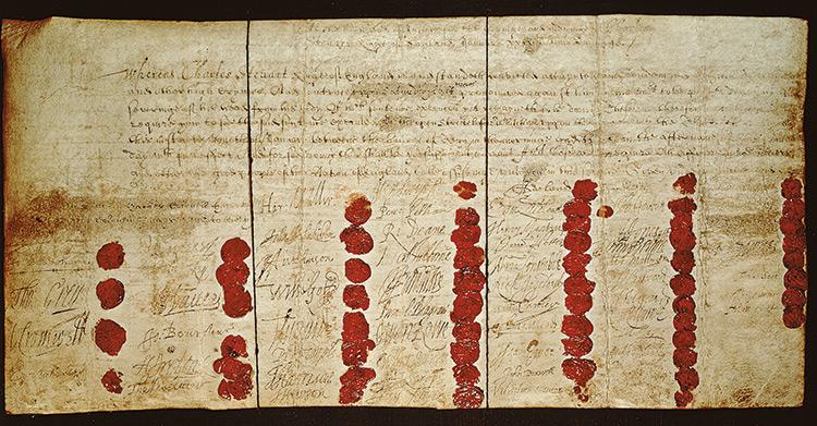 Charles I's death warrant.