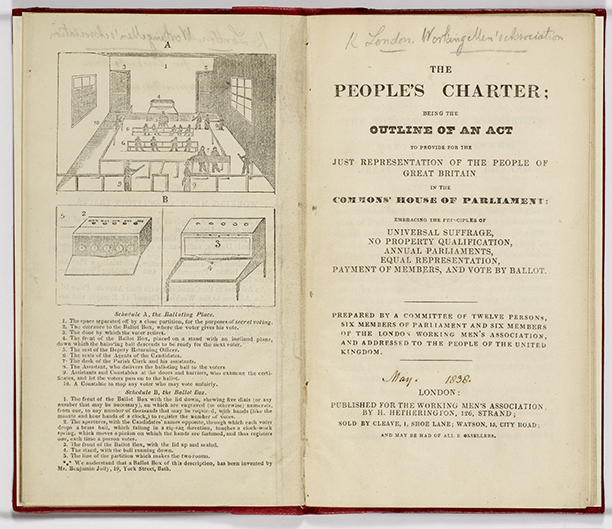 The future outlined: a copy of the People's Charter published by the Working Men's Association in London in 1838. Getty Images/British Library