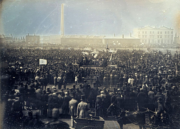 The Great Chartist Meeting on Kennington Common, London in 1848.