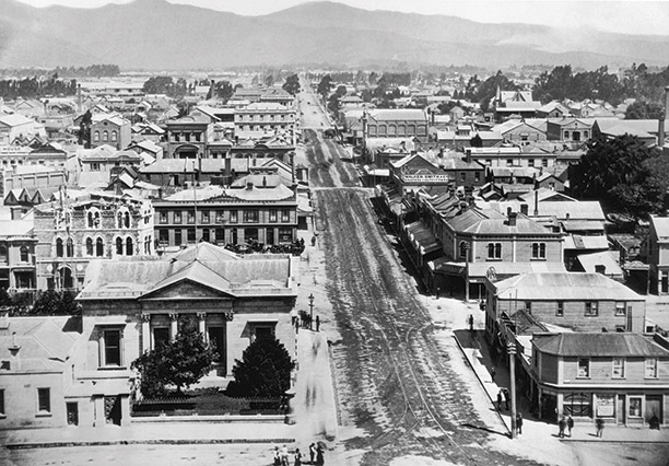 A view of Christchurch from Columbo Street, c.1870