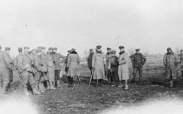 British and German troops meeting in No-Mans's Land during the unofficial Christmas truce of 1914