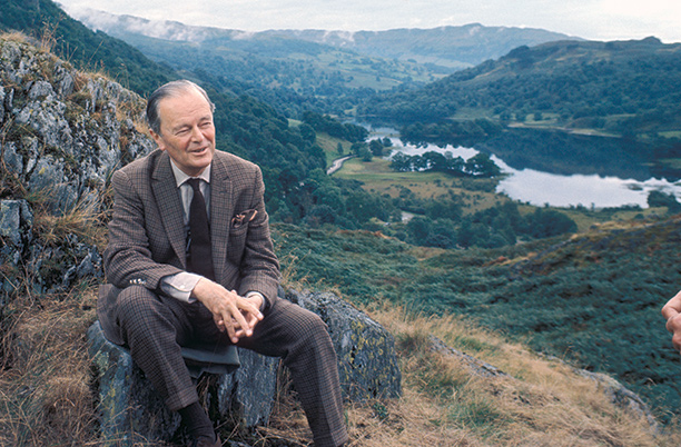 A vision in tweed: Kenneth Clark filming an episode of Civilisation in the Lake District