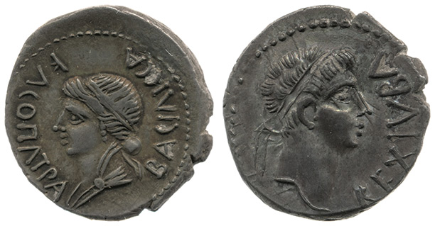 Mauretanian coin of Cleopatra Selene (left, reverse) and her husband Juba II (right, obverse). British Museum
