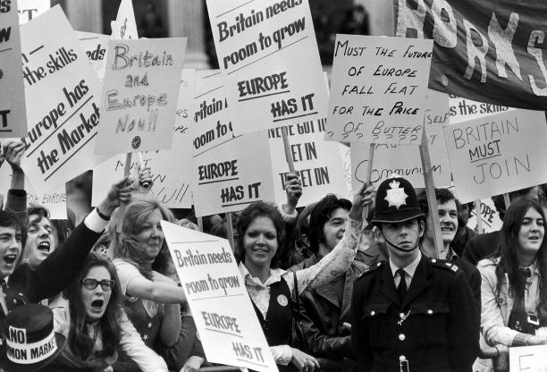 A demonstration in favour of Britain's entry into the Common Market, 1971