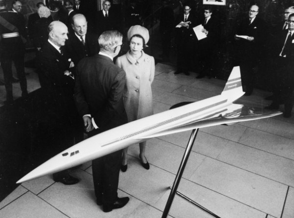 The Queen is shown a model of Concorde at the British Aircraft Corporation works in Filton, Bristol, September 1966. (c) Getty Images/Hulton Archive
