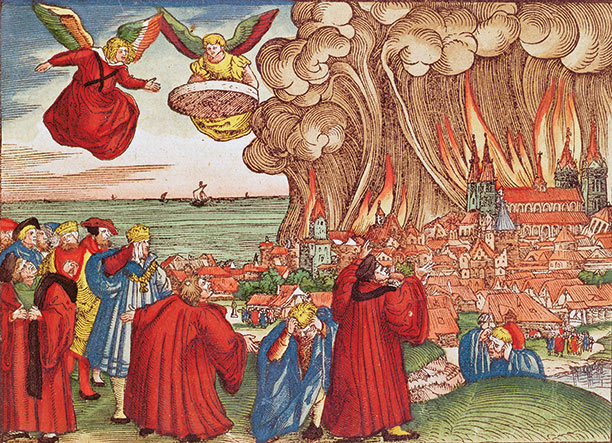 The end of the world: a coloured woodcut from the Luther Bible, c. 1530, illustrates the destruction of Babylon
