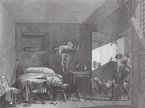 Engraving of the suicide of Condorcet in his prison cell in March 1794, with his jailers entering with their guard dogs.
