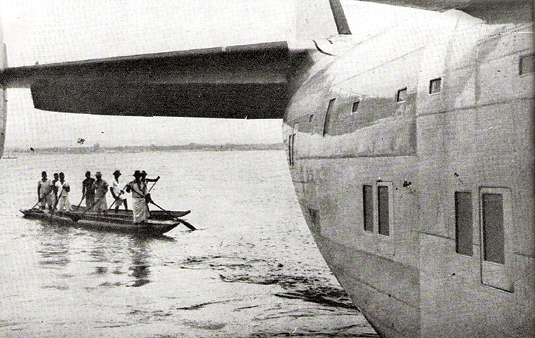 A canoe meets a flying boat at Leopoldville, 1940s