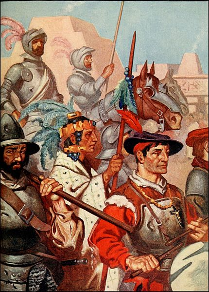 Conquistadors and their Tlaxcalan allies enter Tenochtitlan